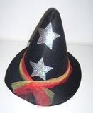 Heksenhoed vilt volwassenen zwart met zilveren sterren_9