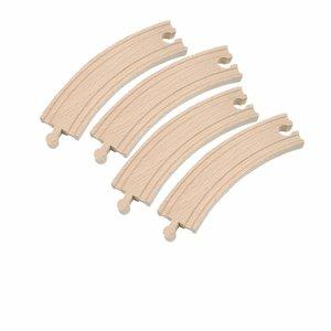 Woody houten rails 4 bochten 17 cm.