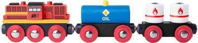 Woody houten locomotief met 2 goederenwagons
