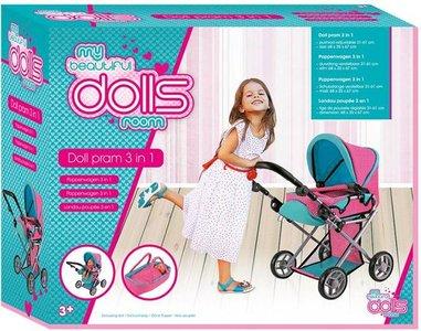 Poppenwagen dollsroom 3-in-1