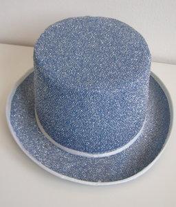 Hoge hoed blauw glitter