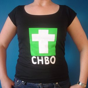 Dames t-shirt zwart met opdruk CHBO