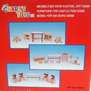 3-in-1 Houten meubels voor kasteel Charl's Toys