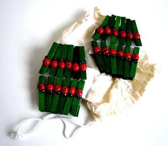 Houten wasknijpertjes groen met lieveheersbeestje