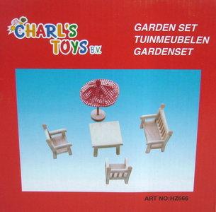 Houten tuinstoelensetje poppenhuis Charl's Toys
