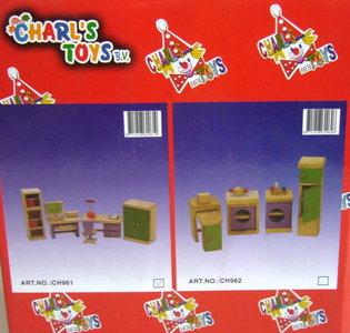 Houten keukensetje poppenhuis Charl's Toys