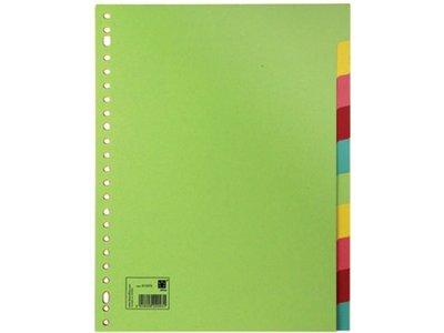 5 setjes tabbladen, gekleurd karton, 10 tabs A4, 175gr. Merk: Quantore