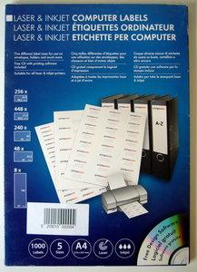 Etiketten A4 voor laser en inkjet printers in 5 maten